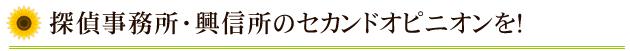 探偵事務所・興信所のセカンドオピニオンを!