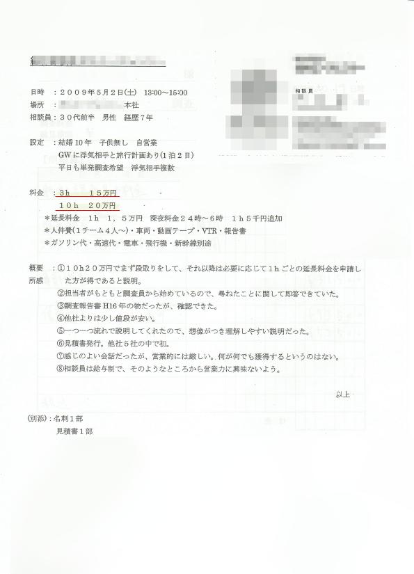 A社-他社調査料金の見本