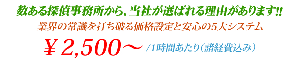 成功報酬制度と料金後払いの安心システム 1時間¥2,500〜(諸経費込)